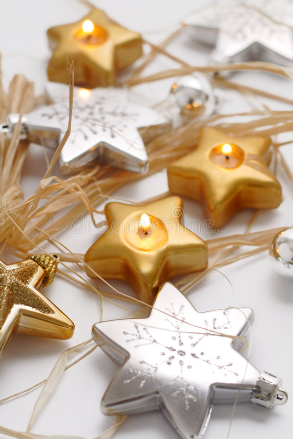De decoratie van Kerstmis op witte achtergrond stock foto