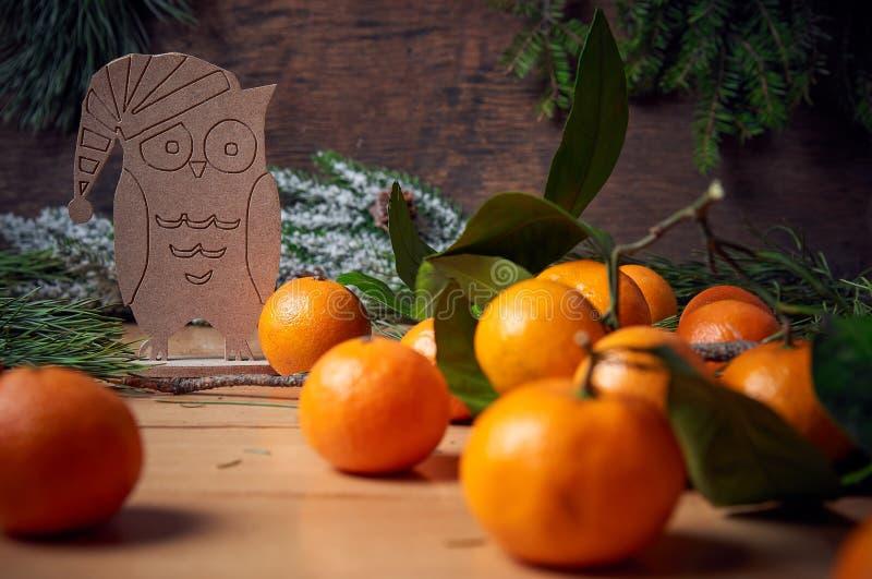 De decoratie van Kerstmis Silhouet van de uil en de mandarijnen royalty-vrije stock afbeeldingen