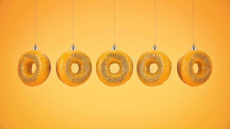 De decoratie van de Kerstmissnuisterij van doughnut wordt gemaakt die Het concept van het nieuwjaar royalty-vrije illustratie