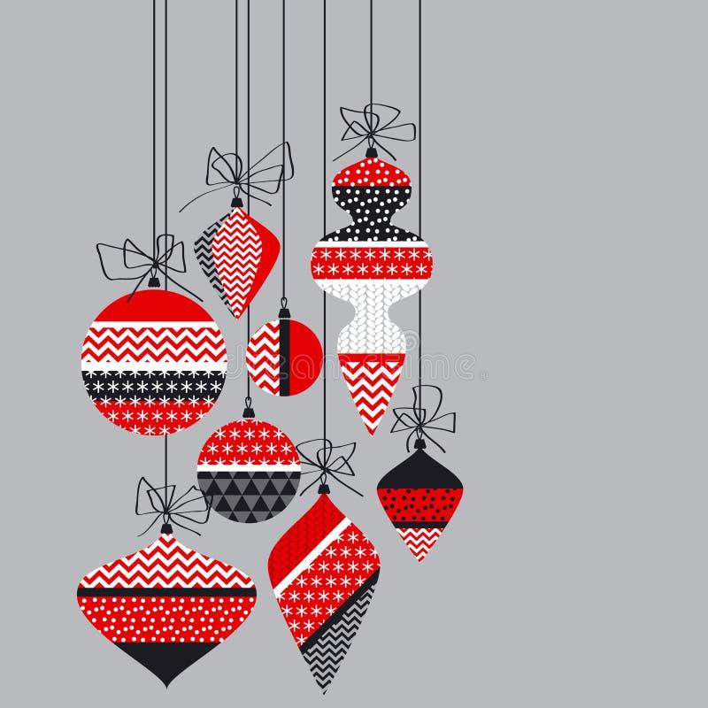 De decoratie van de Kerstmissnuisterij in lapwerkstijl stock illustratie