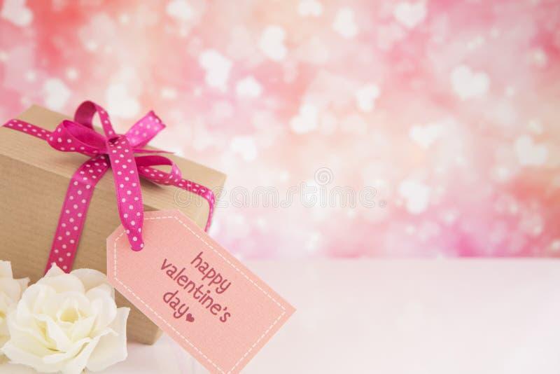 De decoratie van Valentine met een heldere schitterende achtergrond royalty-vrije stock foto's