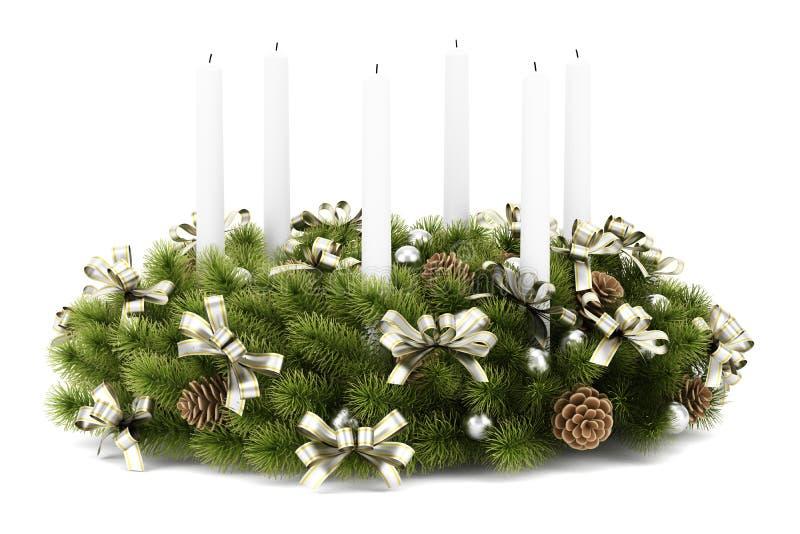 De decoratiekroon van de Kerstmislijst met kaarsen op wit royalty-vrije illustratie