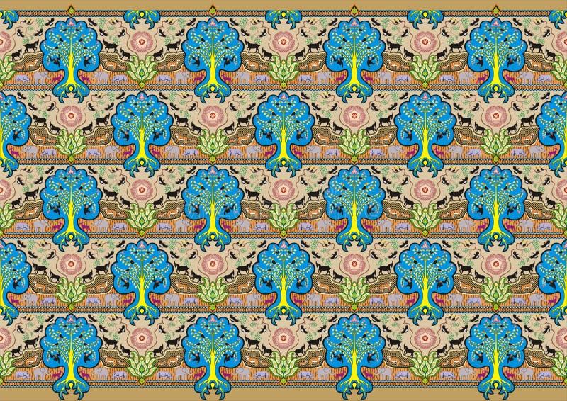 De decoratiemotief van de boombatik stock illustratie