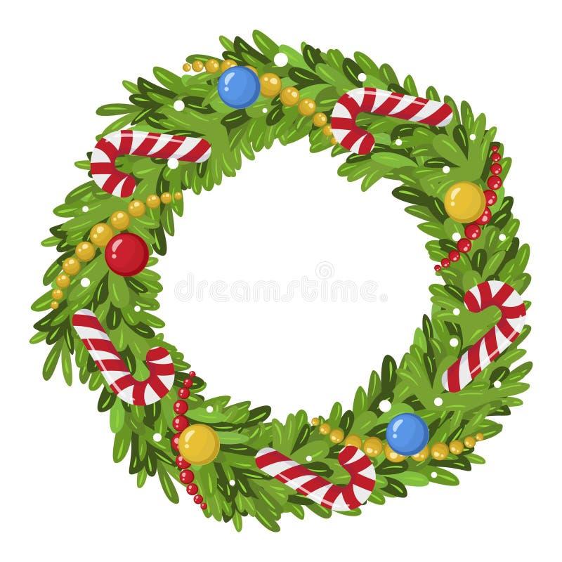 De decoratiepictogram van de Kerstmiskroon, traditioneel feestelijk element vector illustratie