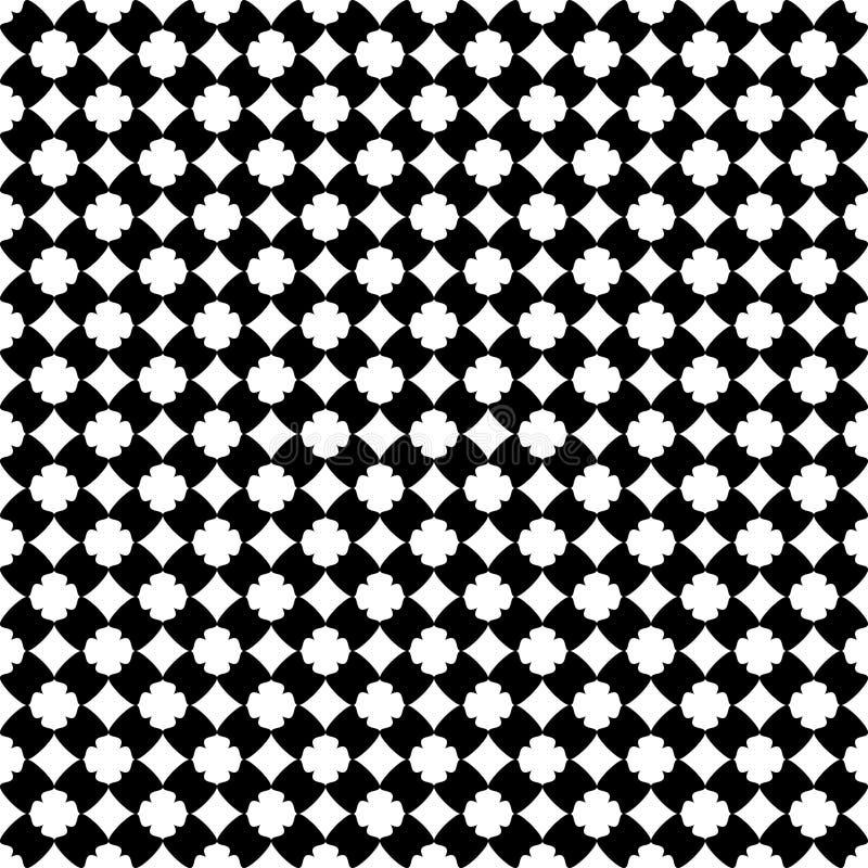 De decoratieve achtergrond van het bloem zwart-witte naadloze herhaalde geometrische patroon Textiel, boeken, stock illustratie