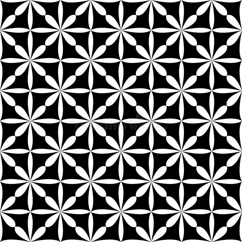 De decoratieve achtergrond van het bloem zwart-witte naadloze herhaalde geometrische patroon Textiel, boeken, royalty-vrije illustratie