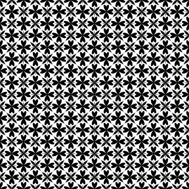 De decoratieve achtergrond van het bloem zwart-witte naadloze herhaalde geometrische patroon Textiel, boeken, vector illustratie