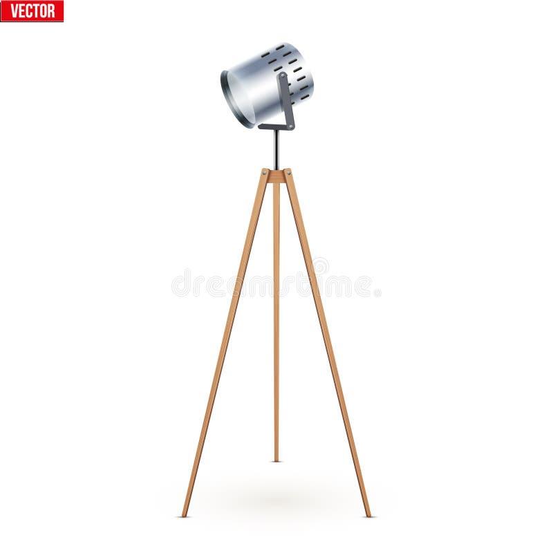 De decoratieve Driepoot van de Schijnwerperstaande lamp vector illustratie