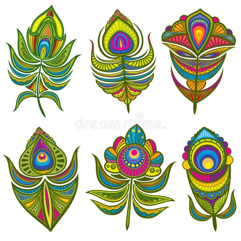 De decoratieve etnische pauw bevedert vector geïsoleerde reeks vector illustratie