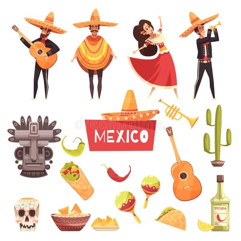 De decoratieve geplaatste pictogrammen van Mexico royalty-vrije illustratie