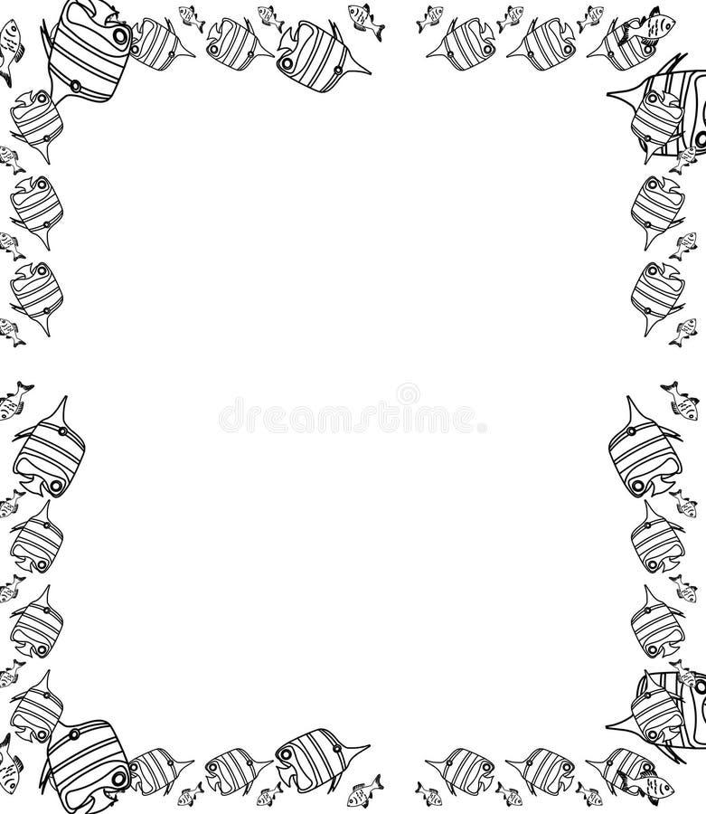 De decoratieve getrokken hand vist grens en kader vector illustratie