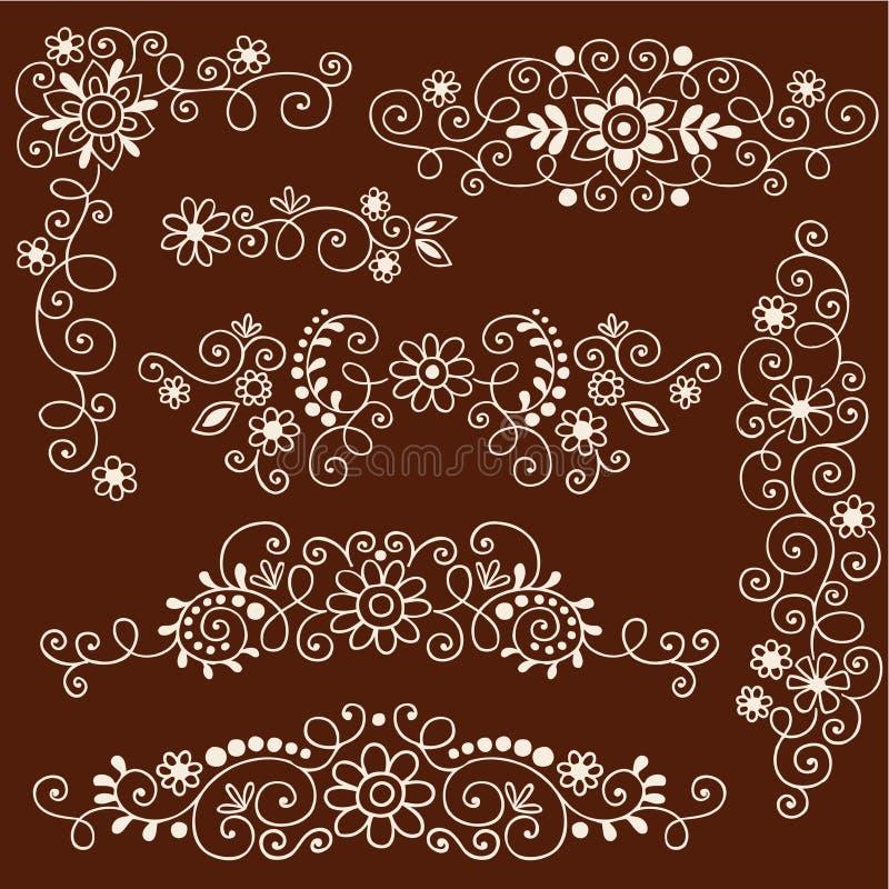 De Decoratieve Grenzen van Henna Mehndi Vines en van Bloemen stock illustratie