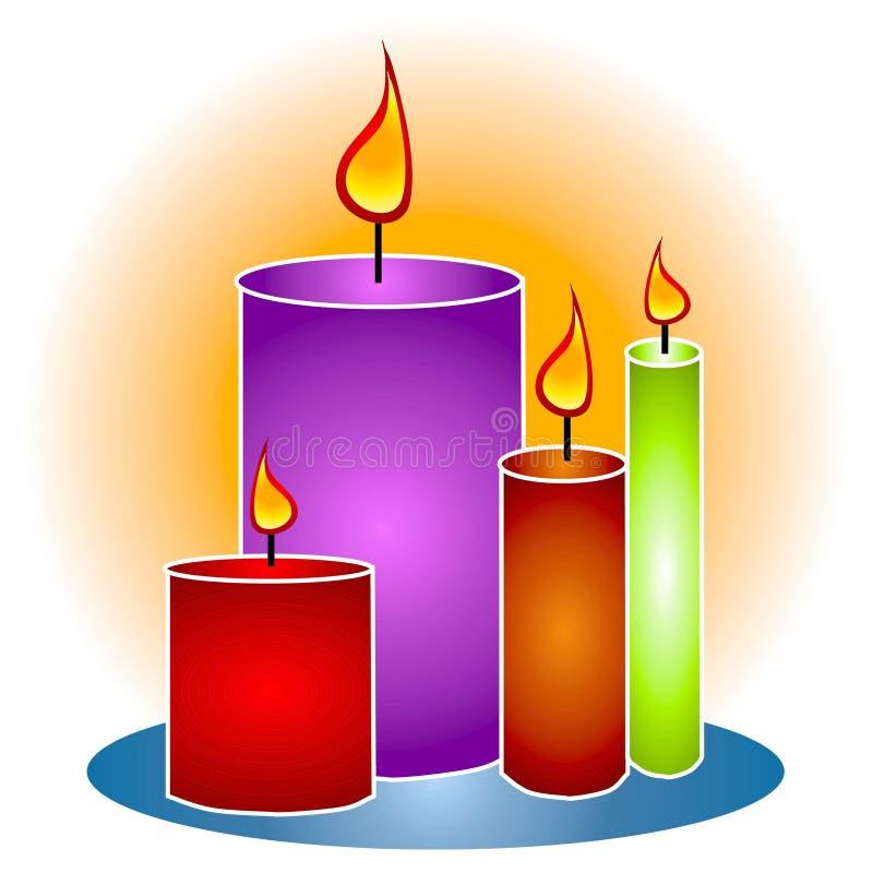 De Decoratieve Kaarsen Clipart van lit stock illustratie