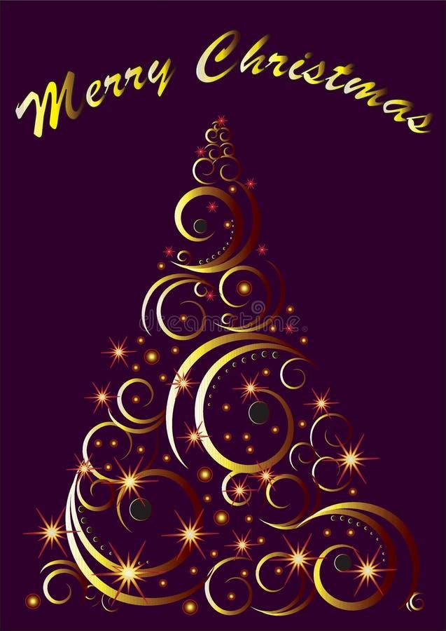 De decoratieve kaart van de Kerstboomgroet met Vrolijke Kerstmisteksten, vector stock afbeelding