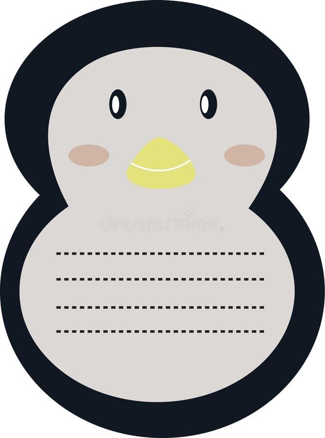 De decoratieve kantoorbehoeften van de pinguïnbrief vector illustratie