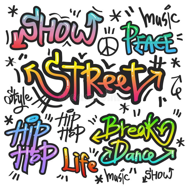 De decoratieve kunst van de straatgraffiti in diverse kleur stock illustratie