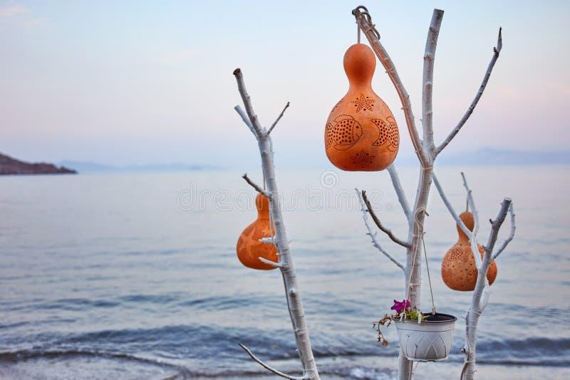 De decoratieve lampen van de pompoenkalebasboom stock afbeeldingen