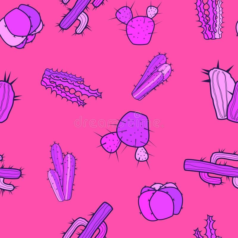 De decoratieve leuke cactussen in een purper-roze stemt op een gekleurde achtergrond stock illustratie