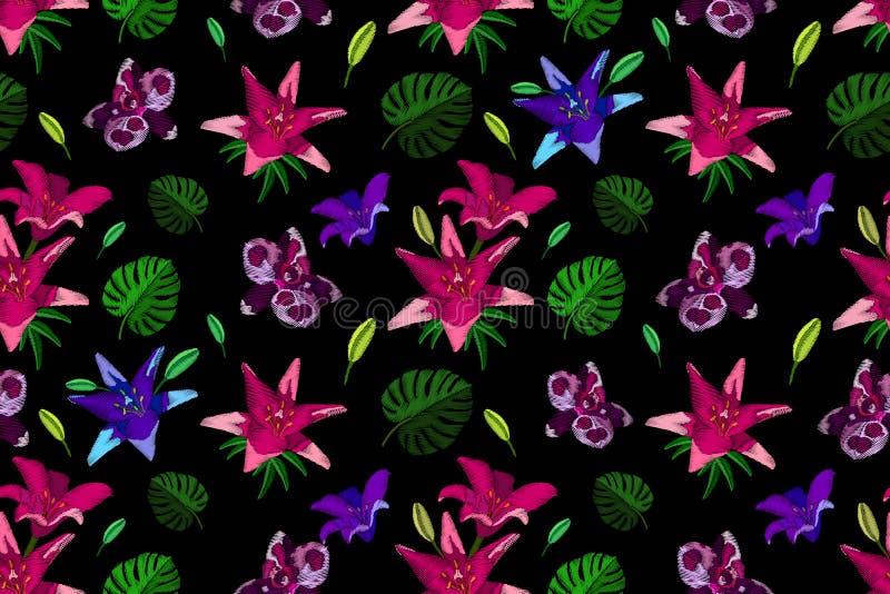 De decoratieve naadloze bloemen van het patroonborduurwerk vector illustratie