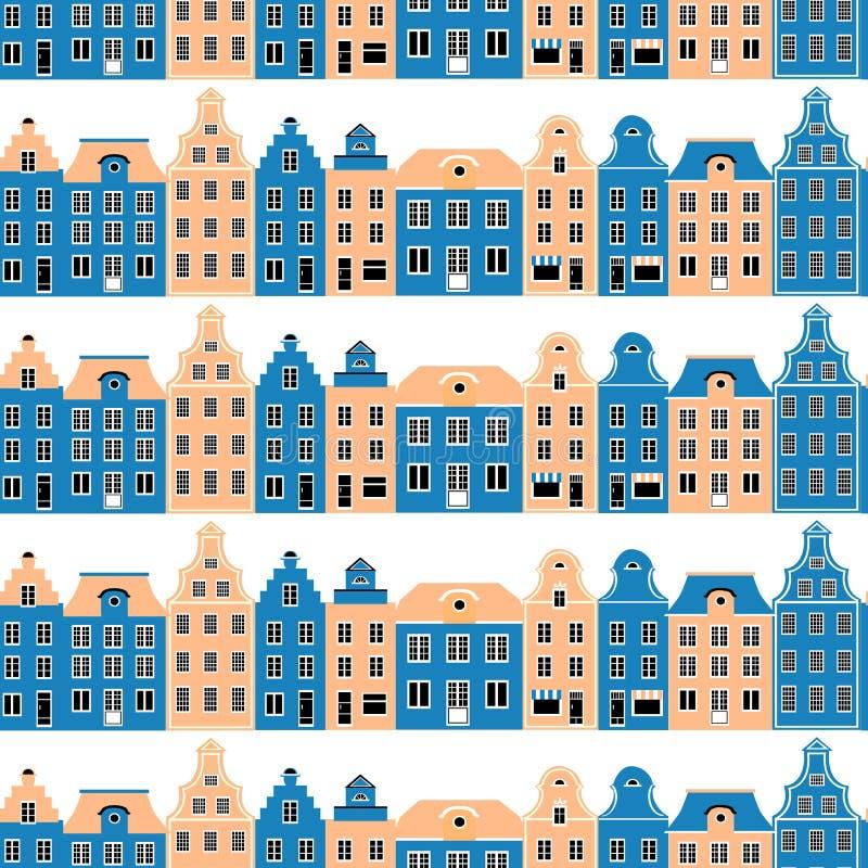 De decoratieve Naadloze vectorbouw van het patroonbeeldverhaal, kleurrijke voorgevel van burgherhuizen, Europese textuurachtergro royalty-vrije illustratie