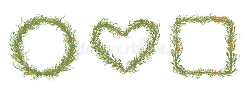 De decoratieve Reeks van cirkel, hart, vierkant met bracnhes en doorbladert stock illustratie