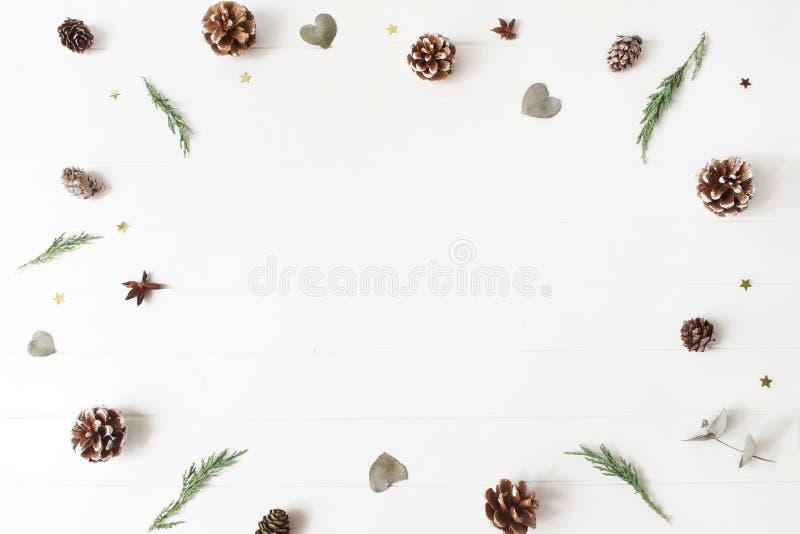 De decoratieve samenstelling van Kerstmis Het bloemenkader van altijdgroene juniperus vertakt zich, eucalyptusbladeren, pijnboom, stock afbeelding