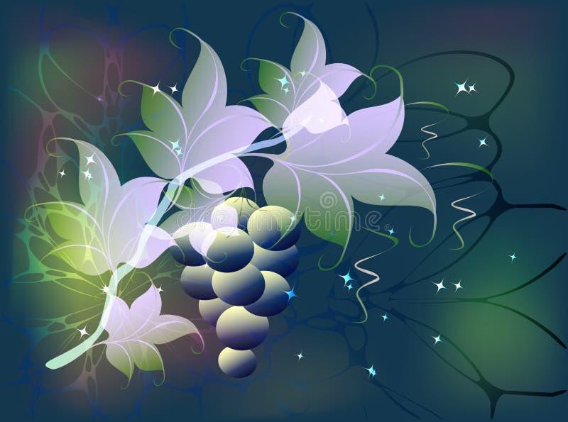 De decoratieve tak van druiven met clusters van bessen en de bladeren op een fabelachtige groene achtergrond met schitteren EPS10 stock illustratie