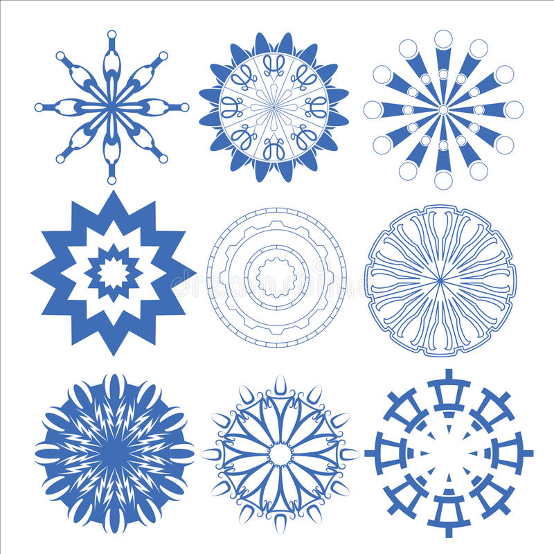 De decoratieve Vector vastgestelde cirkel van ontwerpelementen stock fotografie