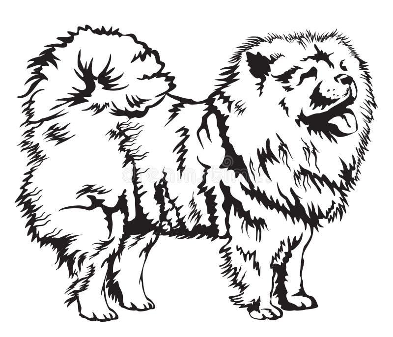 De decoratieve vectorillustratie van Chow Chow royalty-vrije illustratie