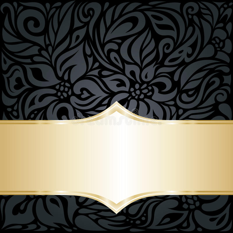 De decoratieve zwarte & zilveren bloemenachtergrond van het luxebehang stock illustratie
