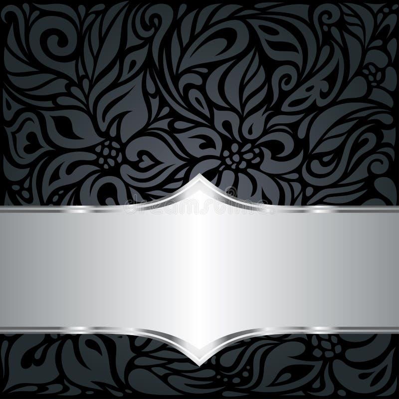 De decoratieve zwarte & zilveren bloemenachtergrond van het luxebehang royalty-vrije illustratie