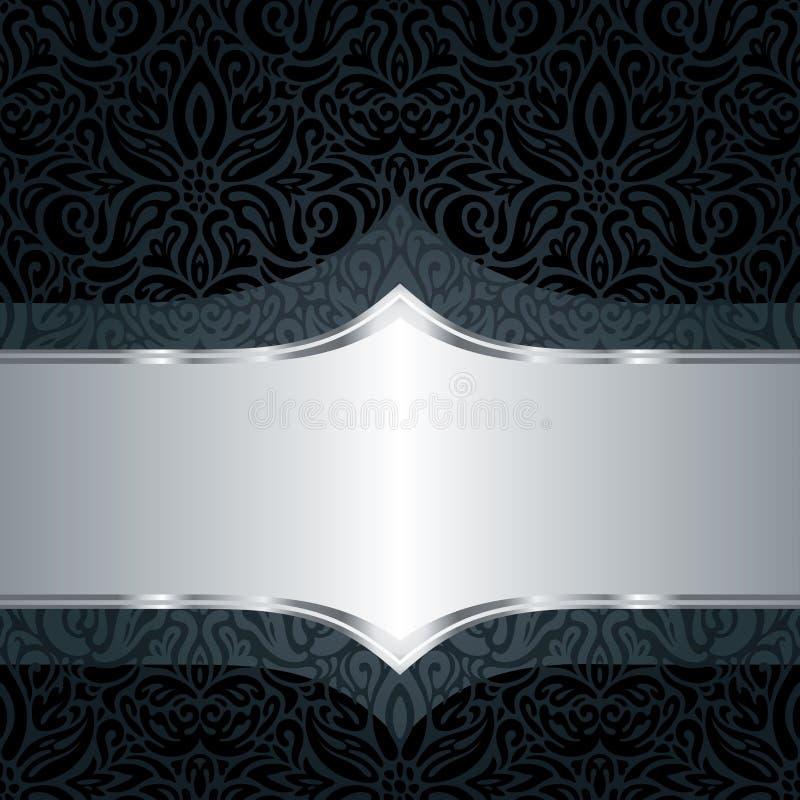 De decoratieve zwarte & zilveren bloemenachtergrond van de het patroon in manier van het luxebehang in uitstekende stijl royalty-vrije illustratie