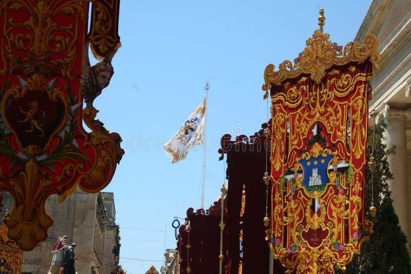 De Decoratievlaggen van Malta Valleta royalty-vrije stock foto