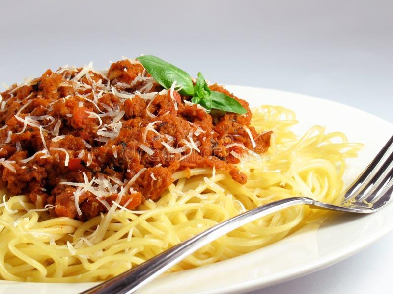 De Deegwaren en de Saus van de spaghetti stock afbeelding