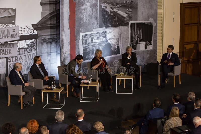 De deelnemers, debat, Maart ` 68 stock foto