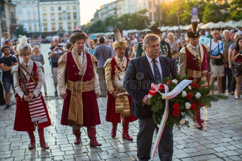 De deelnemers van ceremonie is de gelofte van eerste klassen van de III Middelbare school van Januari Sobieski royalty-vrije stock afbeeldingen