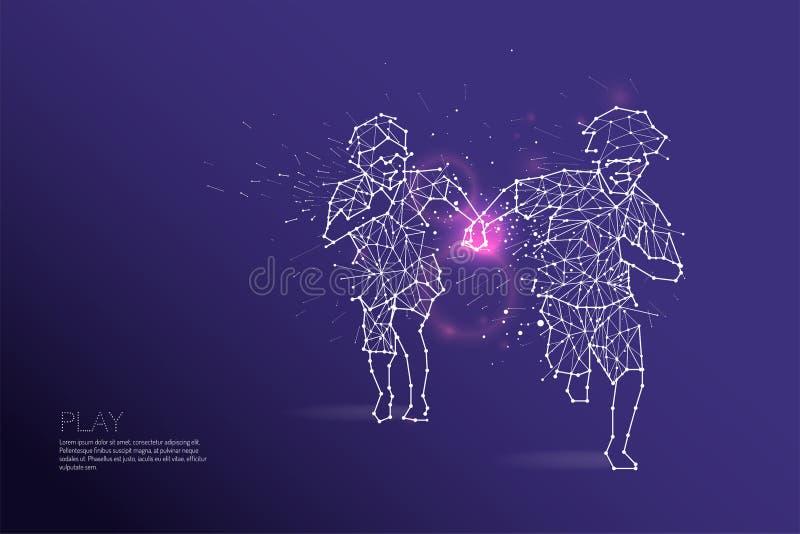 De deeltjes, de geometrische kunst, de lijn en de punt van Jonge geitjes het lopen vector illustratie