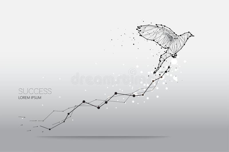 De deeltjes, de geometrische kunst, de lijn en de punt van vogel het vliegen vector illustratie