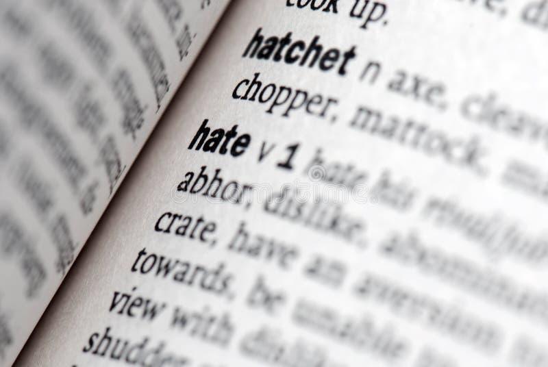 De definitie van de haat in close-up stock afbeelding