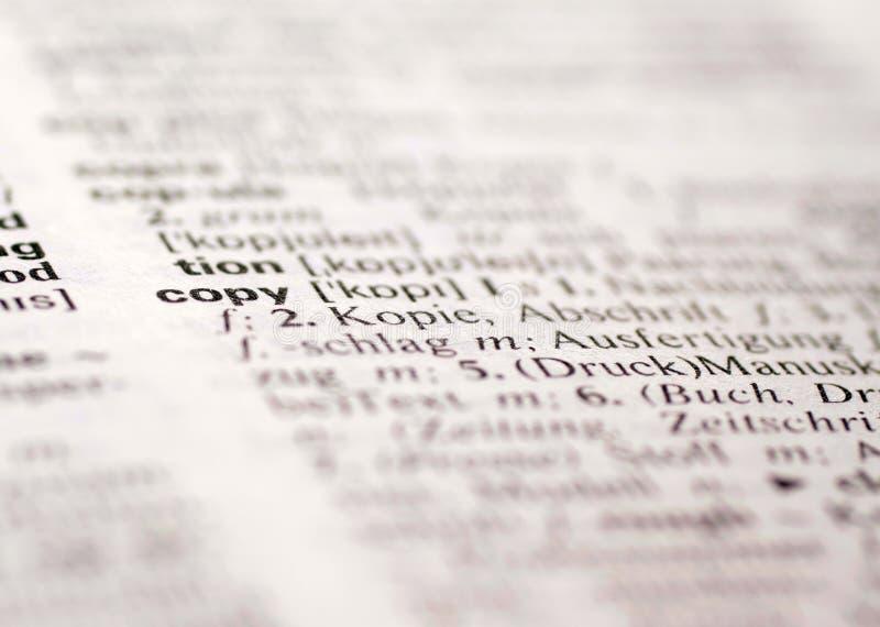 De definitie van het exemplaar stock afbeelding