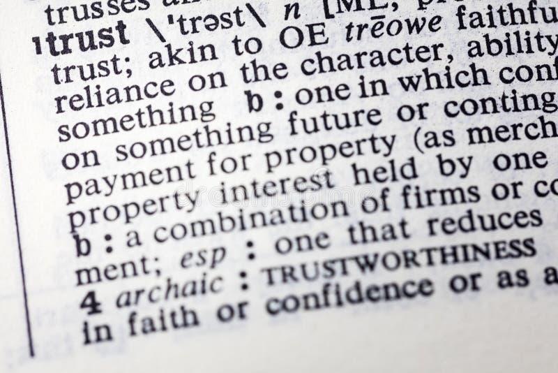 De definitiewoordenboek van het vertrouwens betrouwbaar geloof royalty-vrije stock foto's