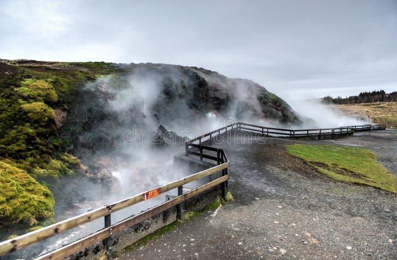 De Deildartunguhver Geothermische Lente, IJsland stock foto