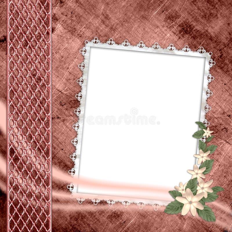 De dekking van het album met frame en bloemen royalty-vrije illustratie