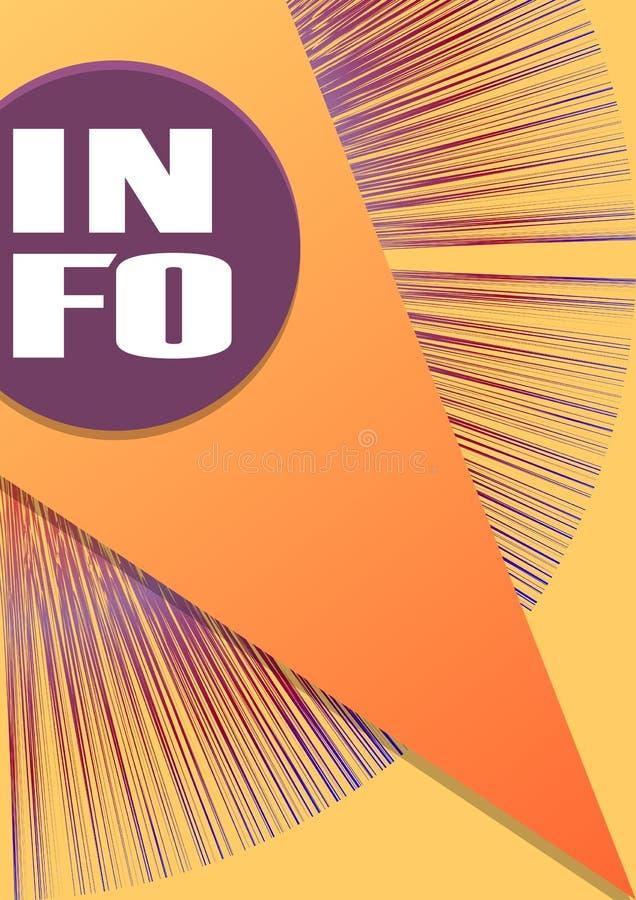 De dekking van het informatieboek in geel en oranje ontwerp, purpere stralen en overlappende driehoeksvorm royalty-vrije illustratie