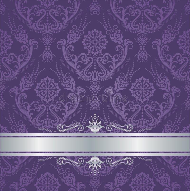 De dekkings zilveren grens van het luxe purpere bloemendamast royalty-vrije illustratie