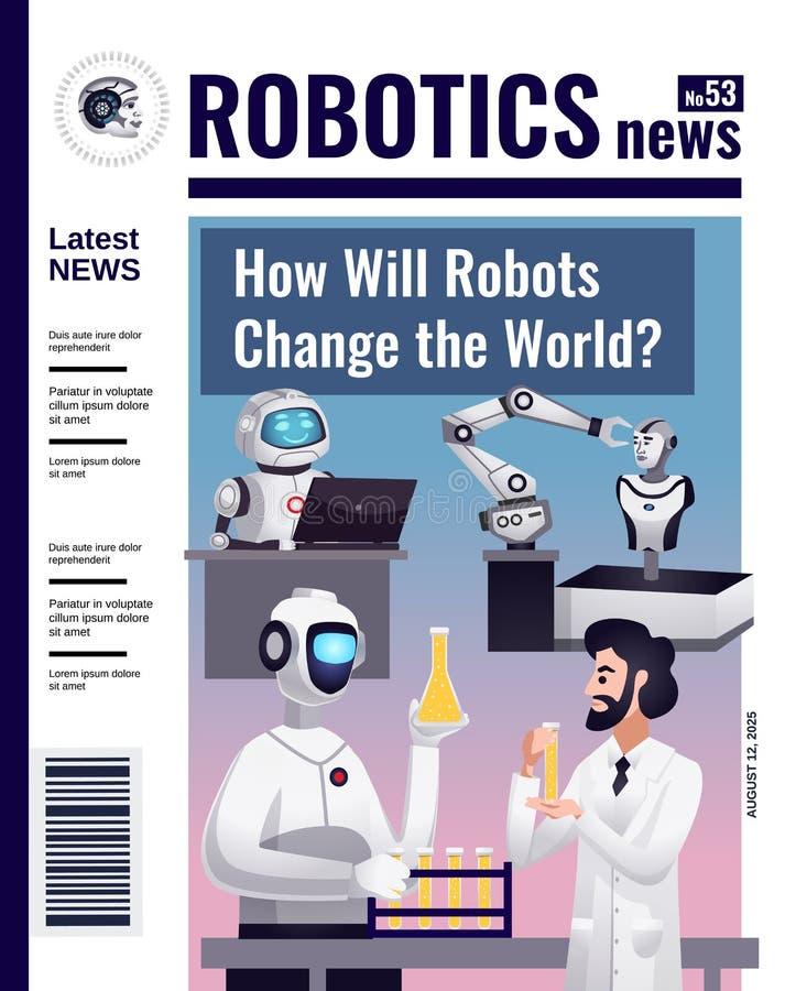 De Dekkingsontwerp van het roboticatijdschrift vector illustratie