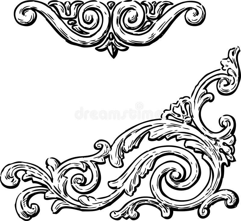 de dekorativa beståndsdelarna för utdragen tappning stock illustrationer