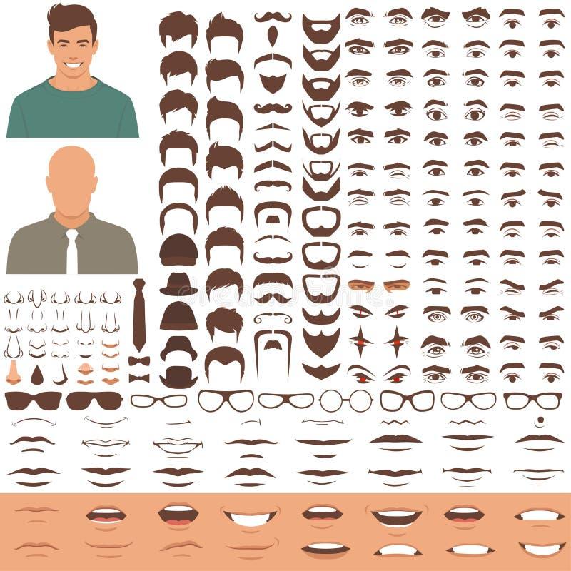 De delen van het mensengezicht, karakterhoofd, ogen, mond, lippen, haar en wenkbrauwpictogramreeks royalty-vrije illustratie