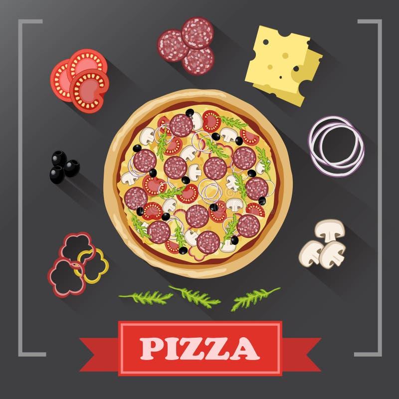 De delen van pizzaingrediënten op bord, met ondertekende ingrediënten royalty-vrije illustratie