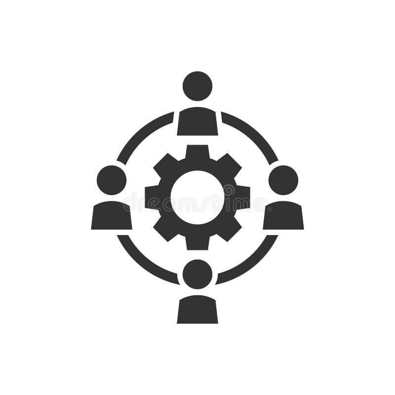 De delocalisering van bedrijfssamenwerkings vectorpictogram in vlakke stijl pe vector illustratie